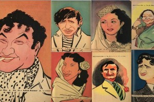 Ashok Kumar_Raj Kapoor_Madhubala_Jeevan_Nargis_Dev anand__Cartoon_RKLaxman_National Film Archive_NFAI_Bollywood Celebs_Bollywoodirect_Caricature